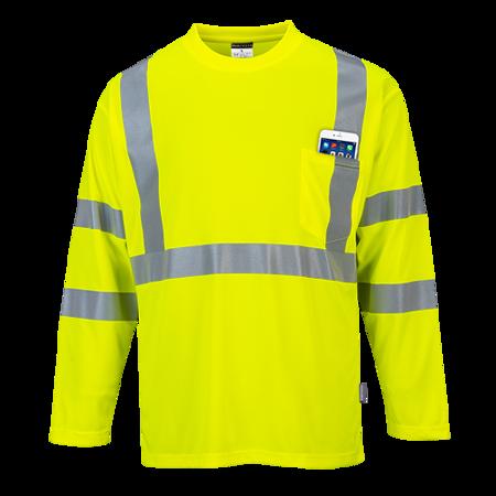 T-shirt ostrzegawczy z długimi rękawami i kieszonką